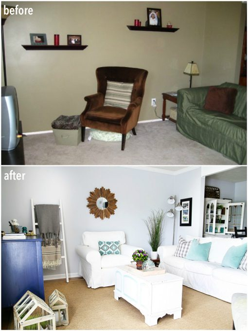 Love the transformation of this living room from dark and dingy to light and bright!
