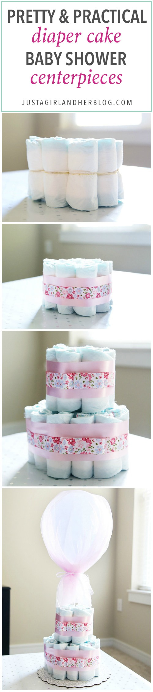 These beautiful diaper cakes make the perfect baby shower centerpieces! They are easy party decor and can be adapted for boys or girls! I'm definitely making these cute decorations for our next shower!