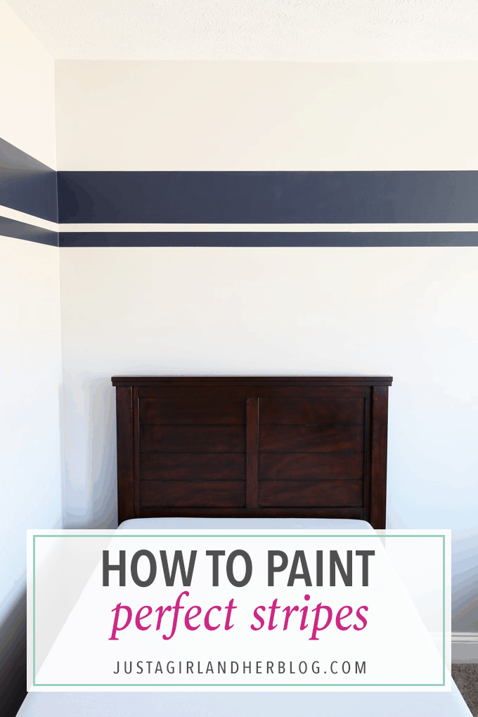how to paint perfect stripes one room challenge week 3 just a girl and her blog. Black Bedroom Furniture Sets. Home Design Ideas