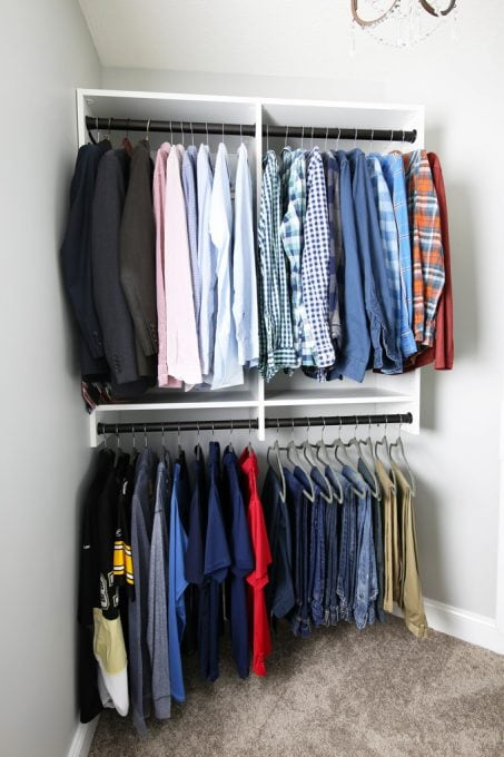 This is a gorgeous master closet! I love the closet system and all of the incredible functionality they were able to get out of this space! Click through to the post to see more!