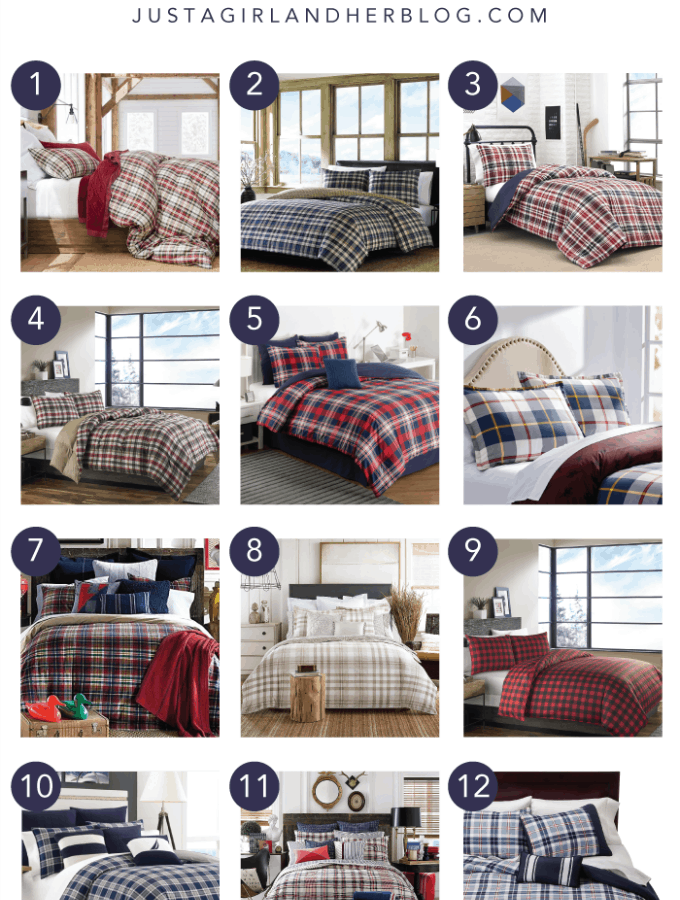 Home Decor- Favorite Plaid Bedding Options. I love these plaid bedding sets for a kids' room or for the holidays! They would also be great for nautical, preppy, or outdoor themes! Click through to the post for sources!