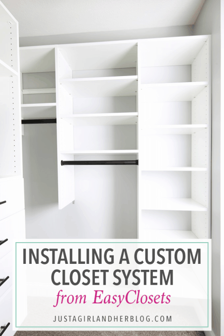 I love this custom closet system that you can design online and have delivered to your house! And it's easy to install too! Click through to the post for more details!