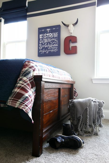 Home Decor: Shared Boy Bedroom. Love this cute shared boy bedroom with an adventuring theme! Click through to see all of the fun details!