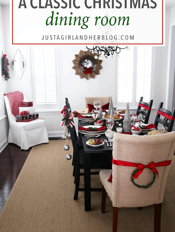 Home Decor- Christmas Dining Room, dining room decor, Christmas decor, holiday decor, Christmas tablescape, holiday tablescape, buffalo check, classic Christmas