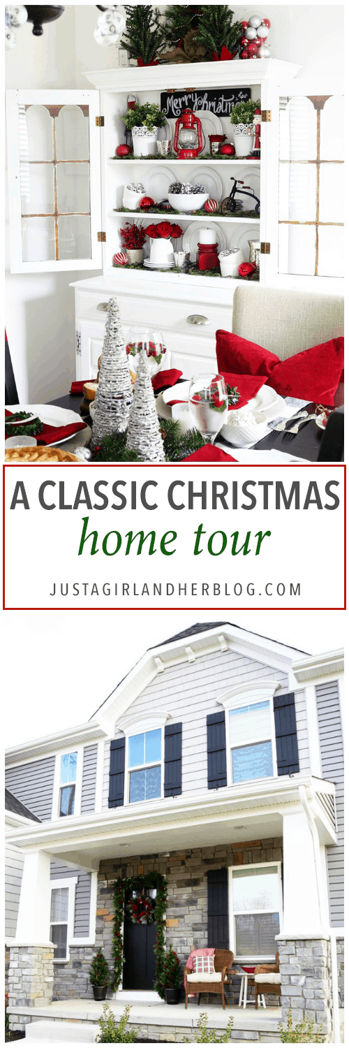 Home Decor- Classic Christmas Home Tour with buffalo check, plaid, red, black and white decorative elements. Pop over to the blog to see the whole tour!