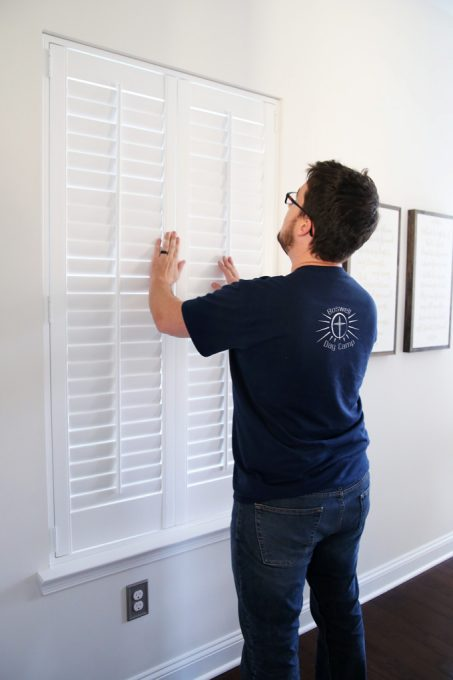 How to measure for and install plantation shutters just a girl and home decor diy plantation shutters wooden shutters shutter installation shutter measurements solutioingenieria Choice Image