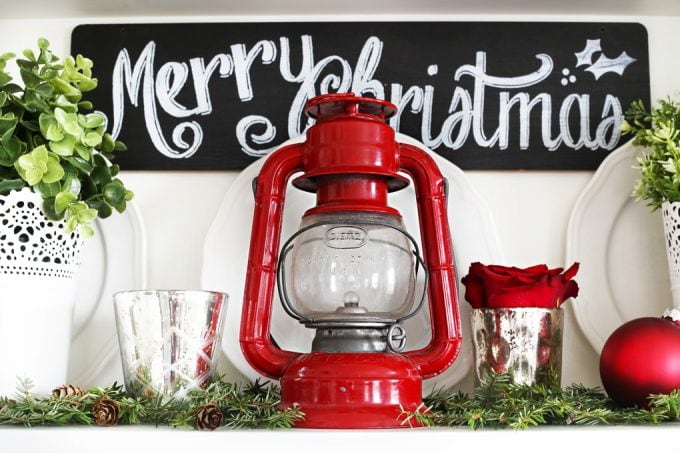 Home Decor- Christmas Hutch, hutch decor, holiday decor, Christmas decorating, holiday styling, dining room decor, how to style a hutch for Christmas