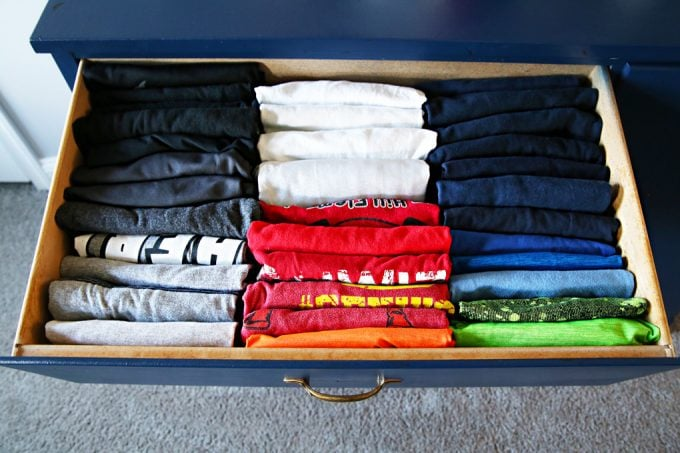 Home Organization- shared boys' bedroom, boy room, boys bedroom, shared bedroom, kids room, organized kids' room, organize, organizing, konmari method, organizing clothes