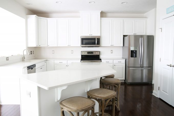 Home decor- kitchen renovation, new countertops, Ryan Homes, Palermo, Caesarstone London Grey counters, quartz countertops