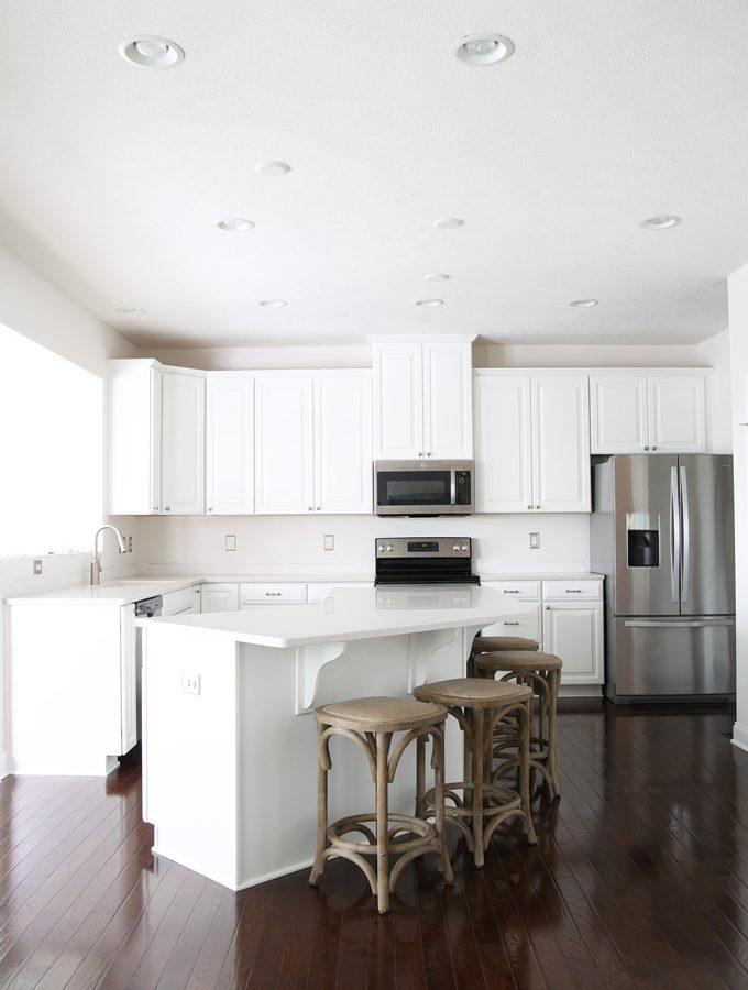 Home decor- kitchen renovation, new countertops, Ryan Homes, Palermo, Caesarstone London Grey counters, quartz countertops