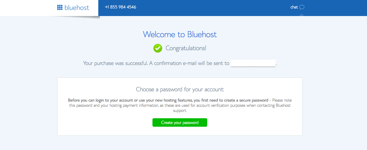 Bluehost congratulation message