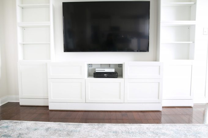 DIY, Home- IKEA BESTA, How to Design and Install the IKEA BESTA System, DIY Built Ins, Custom Built Ins, Custom Trim, Trim Work, IKEA Hack, Add Trim to Built Ins, Crown Molding, Baseboards