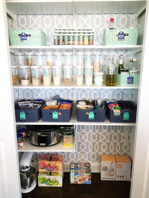 Organization- Pantry organization, kitchen organization, organized pantry, labels, removable wallpaper, IKEA ALGOT system