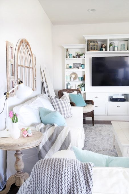Home- Spring Living Room, spring decor, simple spring decor, spring family room, aqua and pink decor, white couches, IKEA EKTORP, IKEA BESTA, living room decor