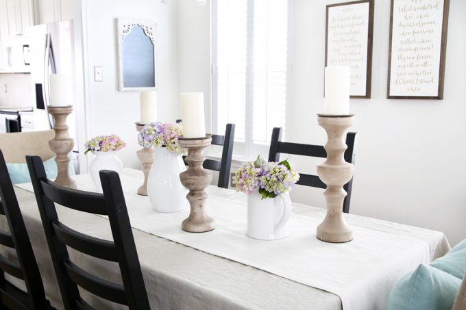 Home- Spring Dining Room, spring decor, spring table, tablescape, centerpiece, hutch, hutch styling, spring dining room decor