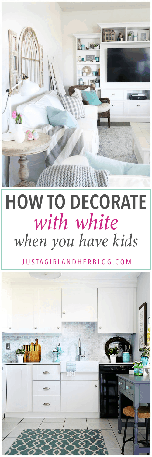 Home, white sofa, white couch, white decor, how to decorate with white when you have kids, decorating with kids, clean house with kids