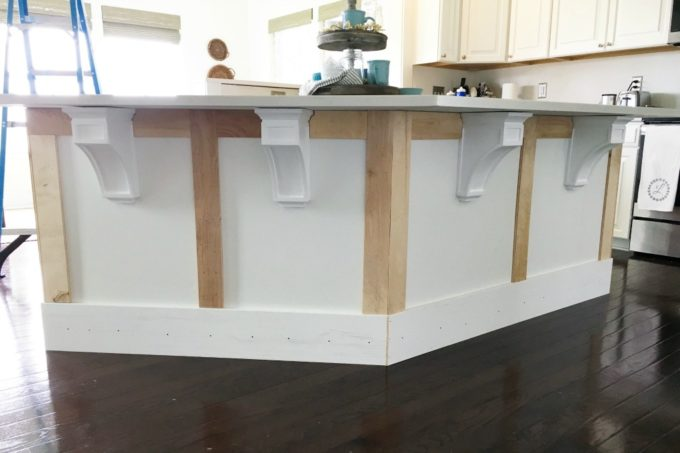 DIY- kitchen island trim, craftsman trim, wood corbels, how to install wood corbels, chunky trim, trim work, DIY projects, kitchen DIY
