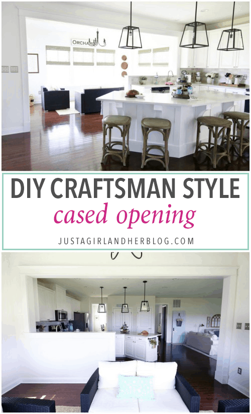 DIY- Craftsman Style Cased Opening, Half Wall, Trim Work, Kitchen Renovation, Kitchen Update, Kitchen Upgrade, Farmhouse Trim, Ryan Homes Palermo