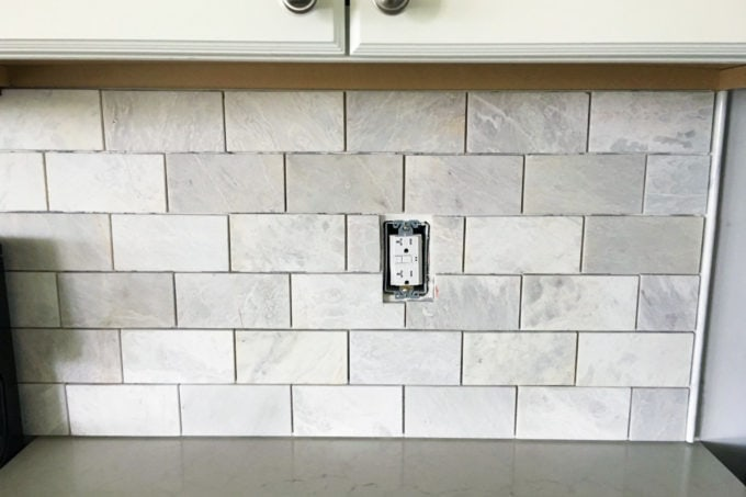 How to install a marble subway tile backsplash just a for Kitchen without tiles