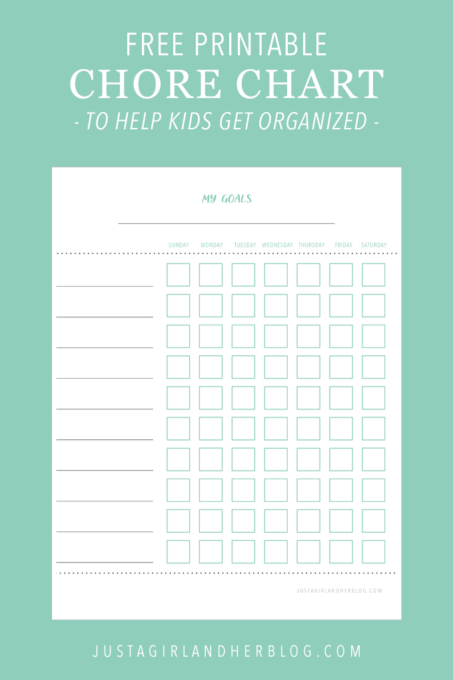Free Printable Chore Chart to Help Kids Get Organized and Reach Their Goals