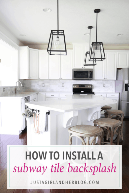 How To Install A Marble Subway Tile Backsplash Just A Girl And Her Best Installing Tile Backsplash