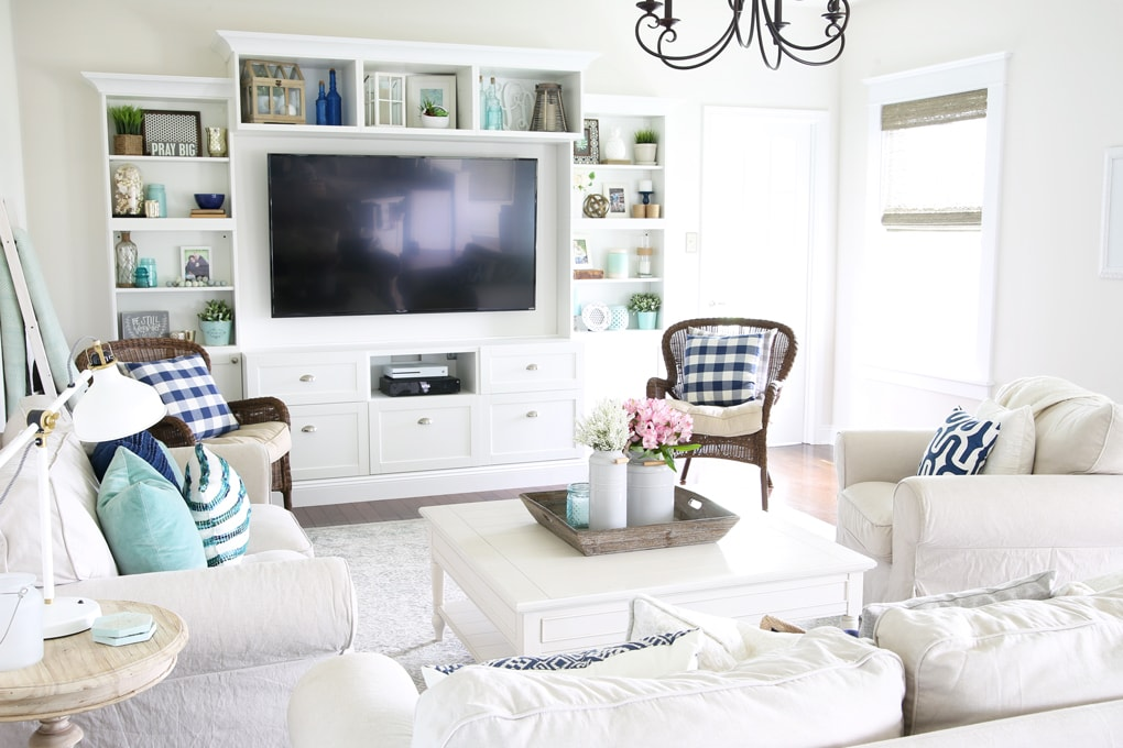 Home- Simply Summer living room home tour, coastal living ...