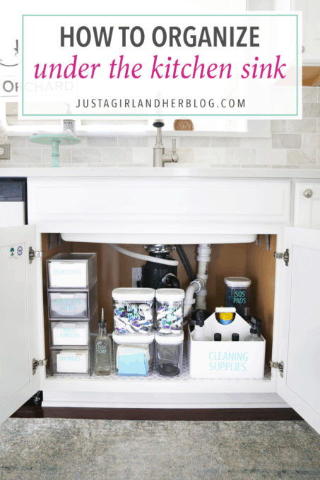 Home Organization- How to Organize Under the Kitchen Sink, Kitchen Organization, Organized Kitchen, organized cleaning supplies, organizing underneath the sink, cabinet organization, organized, organizing, decluttering