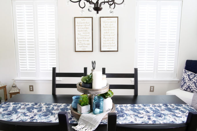 Home- summer home tour, white kitchen, home decor, seasonal decorating, blue decor, navy blue, hutch decor, Ryan Homes Palermo