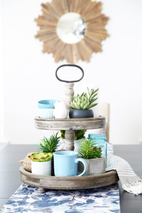 Home- summer home tour, white kitchen, home decor, seasonal decorating, blue decor, navy blue, hutch decor, Ryan Homes Palermo