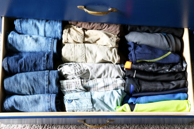Little Boy's pants and shorts drawer, Home Organization - The KonMari Method of folding clothes helps us keep our dresser drawers neat, tidy, and uncluttered! filing method of clothes folding, declutter, decluttering, clothes organization, organizing clothes, kids' clothes organization, IKEA SKUBB boxes, Marie Kondo, The Life Changing Magic of Tidying Up