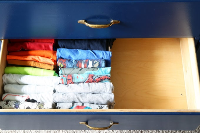 Little Boy's t-shirt drawer, Home Organization - The KonMari Method of folding clothes helps us keep our dresser drawers neat, tidy, and uncluttered! filing method of clothes folding, declutter, decluttering, clothes organization, organizing clothes, kids' clothes organization, IKEA SKUBB boxes, Marie Kondo, The Life Changing Magic of Tidying Up
