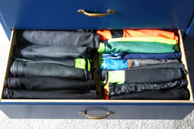 Boy's pants and shorts drawer, Home Organization - The KonMari Method of folding clothes helps us keep our dresser drawers neat, tidy, and uncluttered! filing method of clothes folding, declutter, decluttering, clothes organization, organizing clothes, kids' clothes organization, IKEA SKUBB boxes, Marie Kondo, The Life Changing Magic of Tidying Up