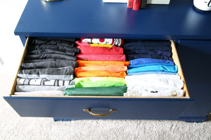 Boys' t-shirt drawer, Home Organization - The KonMari Method of folding clothes helps us keep our dresser drawers neat, tidy, and uncluttered! filing method of clothes folding, declutter, decluttering, clothes organization, organizing clothes, kids' clothes organization, IKEA SKUBB boxes, Marie Kondo, The Life Changing Magic of Tidying Up