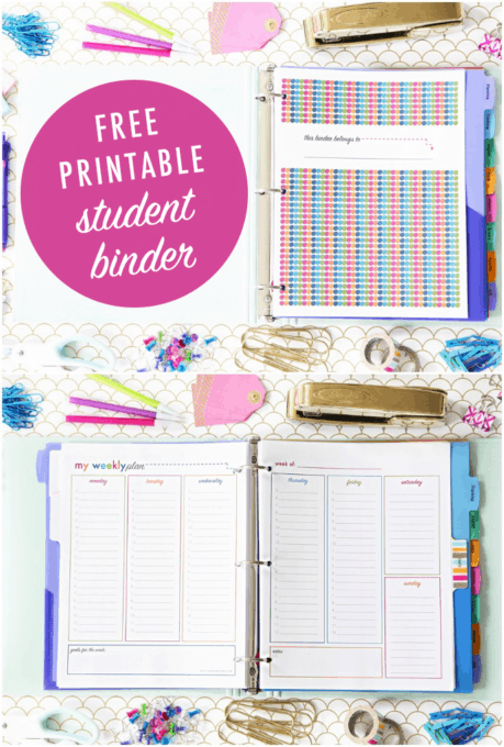 picture relating to Free Printable Organizing Sheets identify Pupil Binder for Back again-toward-College or university (with Cost-free Printables!)