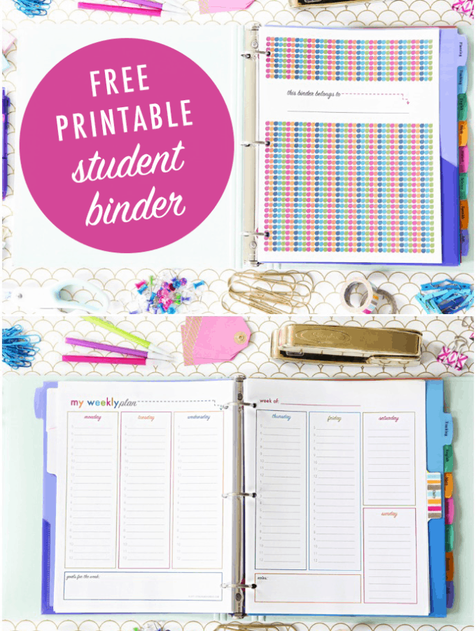 Free Printable Student Binder for Back to School and Back to College
