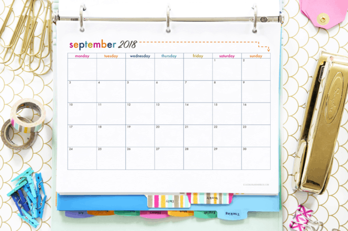 Monthly Calendar Printables for the Student Binder