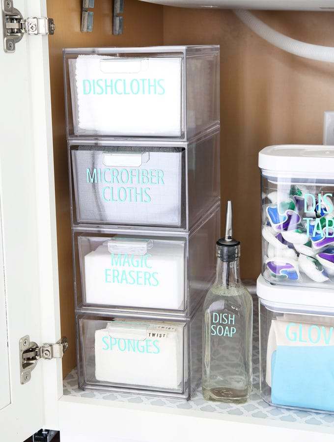 Home Organization- Acrylic Organizers to Organize Every Area of Your Home, clear plastic drawer inserts, makeup organization, pantry organization, refrigerator organization, desk organization, organized office, kitchen organization, drawer dividers, water bottle organization, office supplies, utensil holder, declutter, decluttering, organizing under the kitchen sink, acrylic drawers