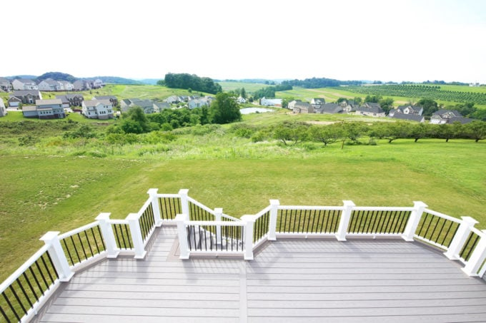 Home- Deck with View, White Deck Railings with Black Balusters, Island Oak and Dark Hickory Deck Boards, AZEK Decking, AZEK Building Products, Building a Deck, DIY vs. Hiring a Professional, How to Build a Deck, Ryan Homes Palermo, Deck or Patio, Deck Construction