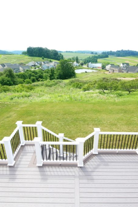 Home- View from the Deck, White Deck Railings with Black Balusters, Island Oak and Dark Hickory Deck Boards, AZEK Decking, AZEK Building Products, Building a Deck, DIY vs. Hiring a Professional, How to Build a Deck, Ryan Homes Palermo, Deck or Patio, Deck Construction