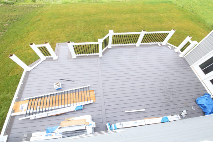 Home- Railings in Progress, White Deck Railings with Black Balusters, Island Oak and Dark Hickory Deck Boards, AZEK Decking, AZEK Building Products, Building a Deck, DIY vs. Hiring a Professional, How to Build a Deck, Ryan Homes Palermo, Deck or Patio, Deck Construction