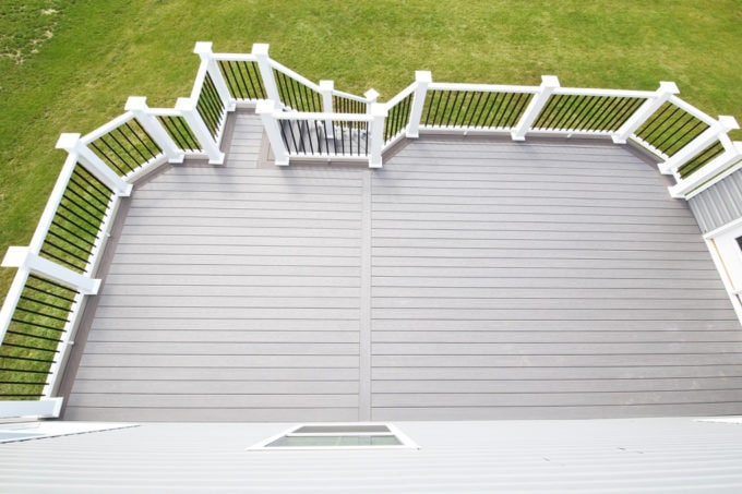 Home- White Deck Railings with Black Balusters, Island Oak and Dark Hickory Deck Boards, AZEK Decking, AZEK Building Products, Building a Deck, DIY vs. Hiring a Professional, How to Build a Deck, Ryan Homes Palermo, Deck or Patio, Deck Construction
