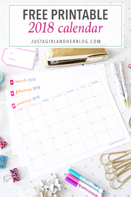 photograph regarding Justagirlandherblog known as Totally free Printable 2018 Calendar Abby Lawson
