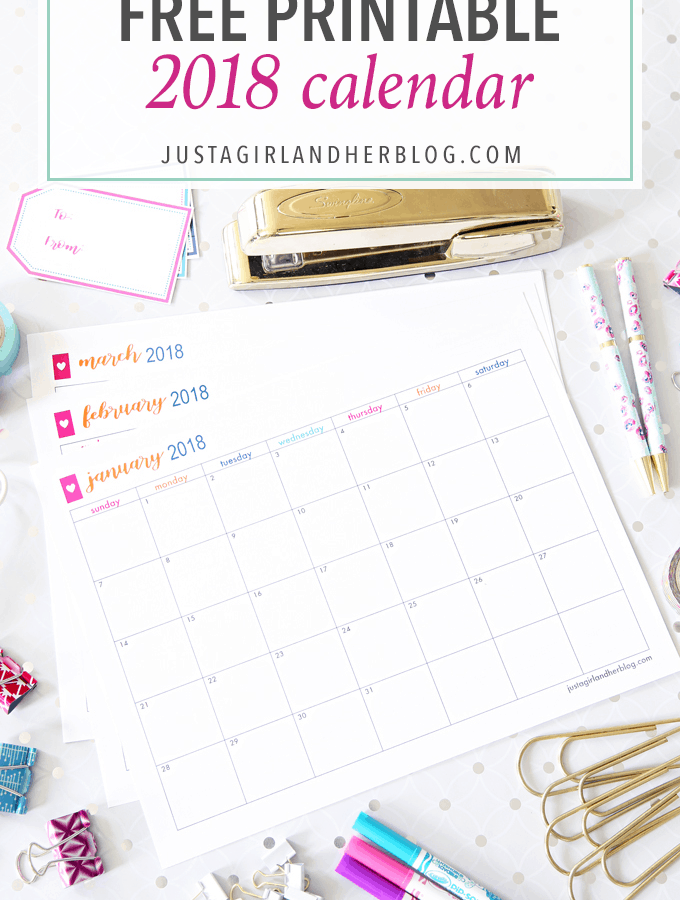 This free printable 2018 calendar is a helpful organizational tool that can help you keep track of everything from your schedule to birthdays to goals and routines and more! Planning, Scheduling, printables, free printables, monthly calendar, twenty eighteen, appointments, commitments, calendar printables