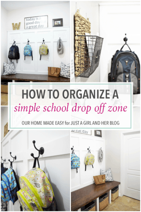Home Organization- How to Organize a Simple School Drop Off Zone, back to school, organized, declutter, decluttering, backpack organization, kids organization, bookbag organization, school organization, mudroom organization, organized mudroom, mudroom built-ins