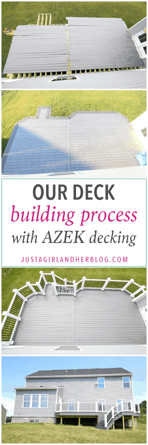 Home- Our Deck Building Progress, White Deck Railings with Black Balusters, Island Oak and Dark Hickory Deck Boards, AZEK Decking, AZEK Building Products, Building a Deck, DIY vs. Hiring a Professional, How to Build a Deck, Ryan Homes Palermo, Deck or Patio, Deck Construction