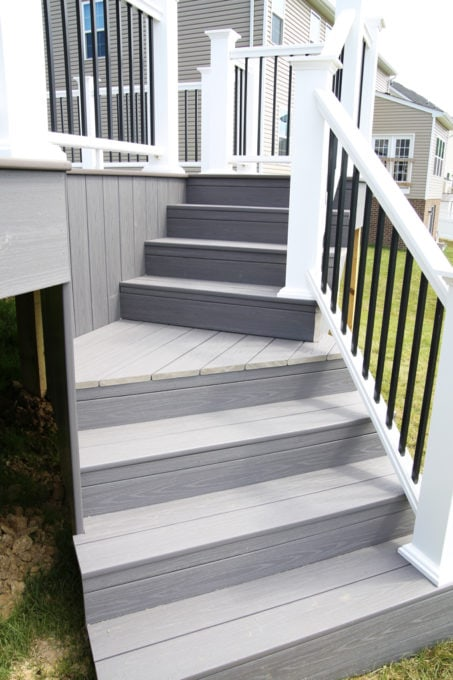 Home- Angled Stairs, White Deck Railings with Black Balusters, Island Oak and Dark Hickory Deck Boards, AZEK Decking, AZEK Building Products, Building a Deck, DIY vs. Hiring a Professional, How to Build a Deck, Ryan Homes Palermo, Deck or Patio, Deck Construction