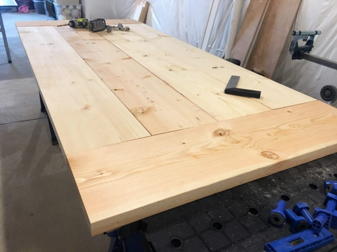 DIY- Farmhouse table build, truss beam table, outdoor table, woodworking project, table construction, how to build an outdoor farmhouse table, Ana White plans, Restoration Hardware inspired, knockoff, table top constructed