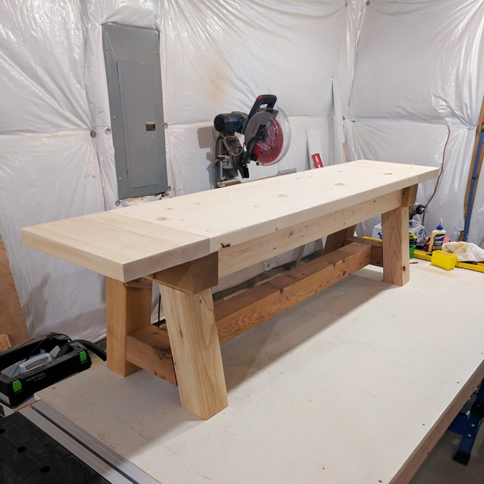 DIY- Farmhouse table build, truss beam table, outdoor table, woodworking project, table construction, how to build an outdoor farmhouse table, Ana White plans, Restoration Hardware inspired, knockoff, DIY farmhouse bench complete
