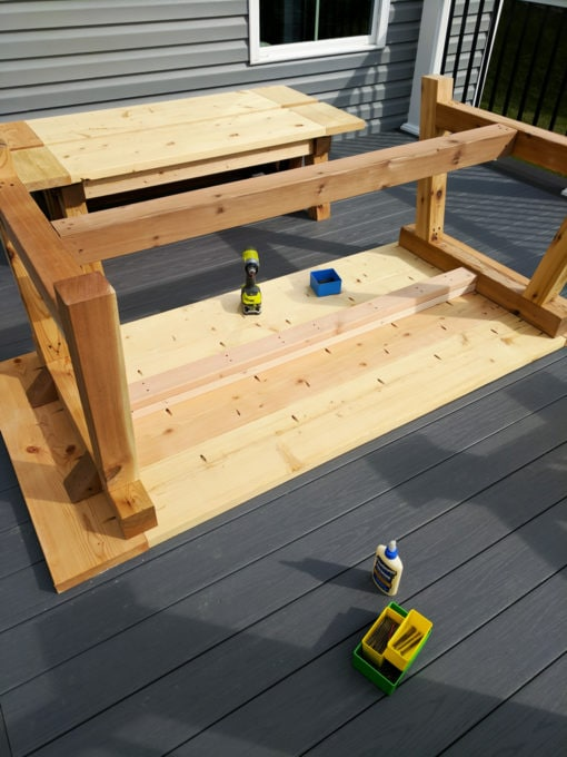DIY- Farmhouse table build, truss beam table, outdoor table, woodworking project, table construction, how to build an outdoor farmhouse table, Ana White plans, Restoration Hardware inspired, knockoff, attaching table base to top