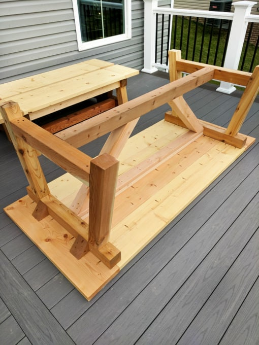 DIY- Farmhouse table build, truss beam table, outdoor table, woodworking project, table construction, how to build an outdoor farmhouse table, Ana White plans, Restoration Hardware inspired, knockoff, farmhouse truss table assembled